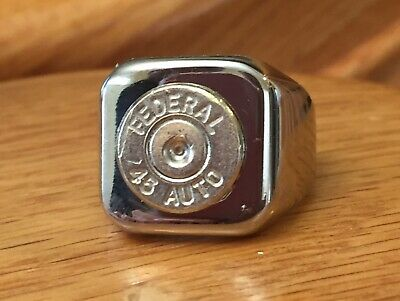 Federal 45 Caliber Nickel Bullet Casing Stainless Steel Ring Size 7 ()