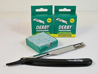 FREE STRAIGHT EDGE RAZOR WITH 200 DERBY PROFESSIONAL SINGLE EDGE BARBER BLADES