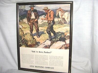 """ES100 - ANTIQUE GULF OIL REFINING MAGAZINE AD - OLD WEST - """"SINK 'ER THERE"""""""