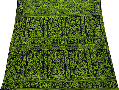 Vintage Green Saree Abstract Printed Pure Silk Deco Craft Fabric 5YD. -PS58304