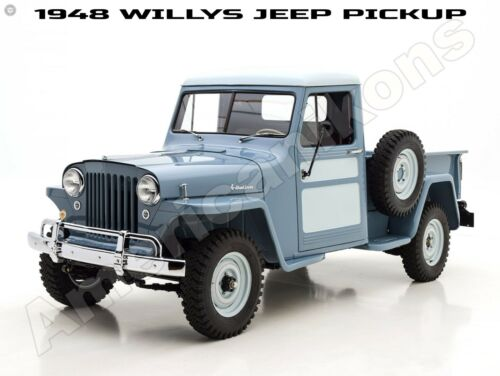1948 Willys Jeep New Metal Sign: Jeep Pickup Truck - Fully Restored