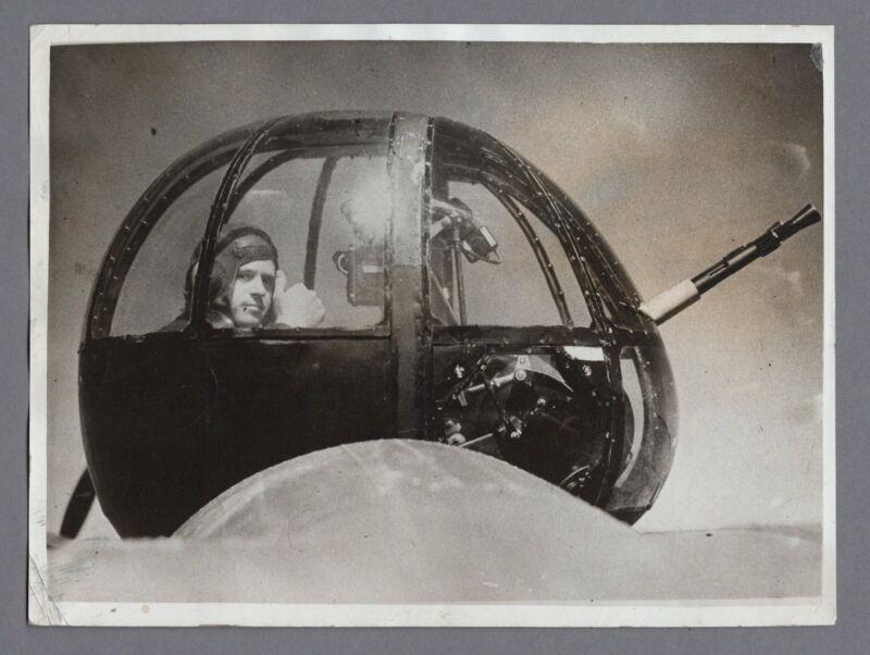 LOCKHEED HUDSON A-29 REAR GUNNER ORIGINAL VINTAGE 1943 WW2 PRESS PHOTO RAF