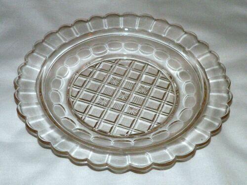 "cut glass Plate, strawberry diamond, flute, Midwestern USA, 9.5""d, mid-1800s"