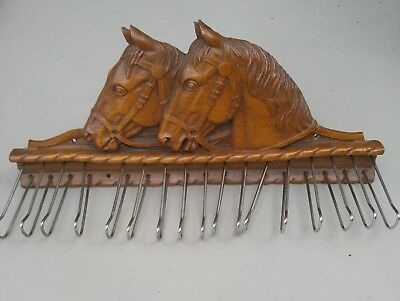 Horse Wood Rack - Vintage Syroco Wood Western Horse Head Tie Rack