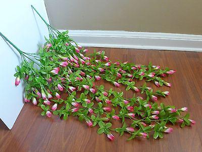 - 2 Artificial Magnolia Flower Buds Vines Hanging Wedding Decoration (Pink)
