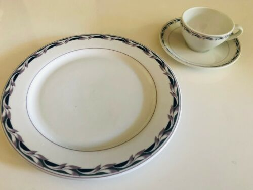 Continental Airlines 3-piece China Set Floral Trim Pattern