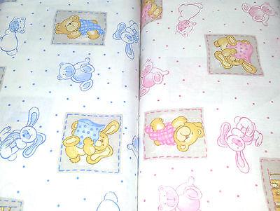 (11,90€/m) Kinderstoff Baby 100% Baumwolle weich fließend blau rosa Teddybären ()