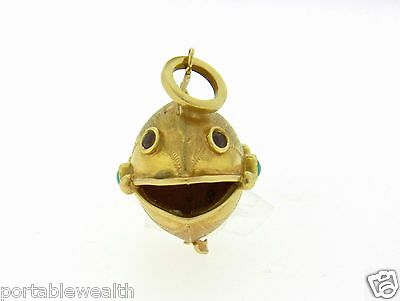 Garnet Fish Charm (Fish Charm Pendant Turquoise Garnet 18K Yellow Gold  )