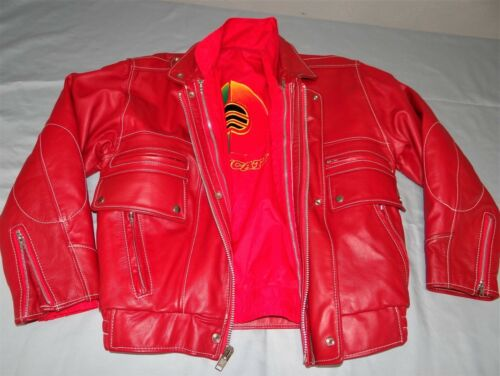 DUCATI Motorcycle Red Leather Jacket w/ Zip Out WindBreaker Lining Mens M Vtg