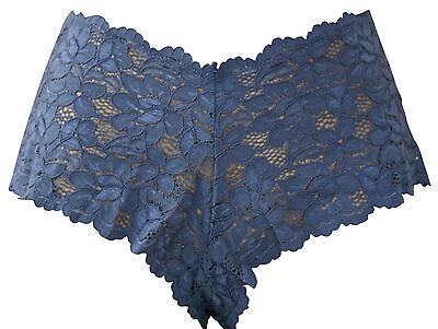Blue lace boxer briefs soft sensuous fabric size X Large (18-20)