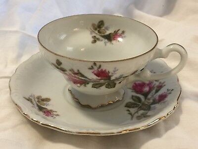 Moss Gold Scroll (Vintage Cup & Saucer Moss Rose Cherry China Japan Scroll Design Gold Red Roses )