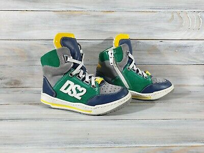 Dsquared D2 Dsquared2 Kids Hi-Top Leather Sneakers Made In Italy Multicolor