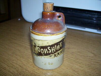 "SMALL VINTAGE MOONSHINE WHISKEY JUG-ONLY 4"" TALL"