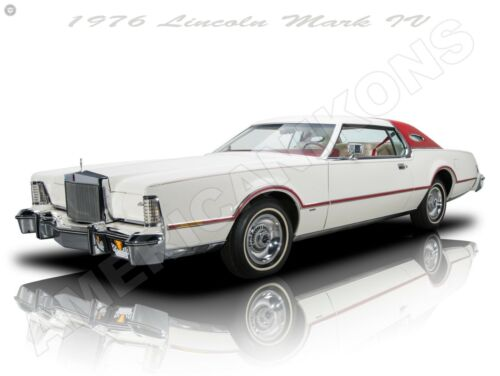 1976 Lincoln Mark IV in White New Metal Sign: Fully Restored