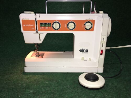 Vintage Elna Air Electronic TSP Sewing Machine w/Foot Controller & Power Cord