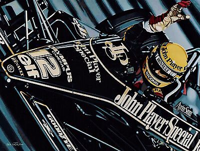 Senna and Mansell 90 x 70 cms limited edition F1 art print by Colin Carter