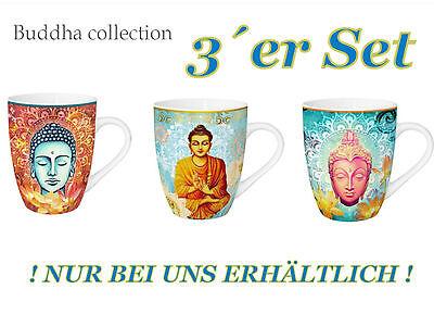 3 Stück Kaffee (® 3 er Set 3 Stück Buddha Tasse Becher  Kaffeebecher Kaffeetasse Teetasse Kaffee)