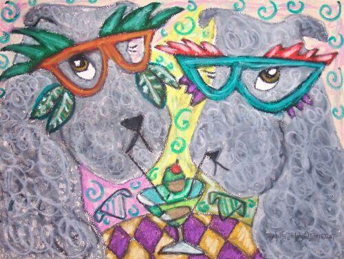 KERRY BLUE TERRIER Masquerade Art Print 8x10 Signed Artist KSams Dog Collectible