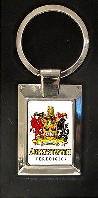 Aberystwyth Crest - high polished metal keyring