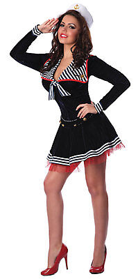 Pin-Up Sailor Girl USA Navy Black Retro Dress Up Halloween Sexy Adult Costume - Navy Pin Up Girl Costume