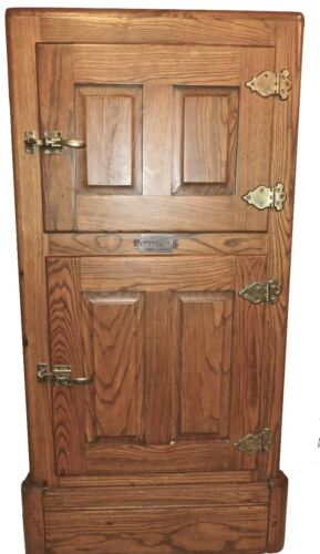 Golden Oak Icebox Stone Lined Belding Hall Complete Cabinet Brass Hardware Minty