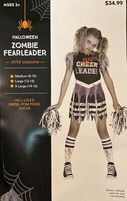 ZOMBIE FEARLEADER Cheerleader Fear Leader Costume Girls Large 12- 14 Halloween