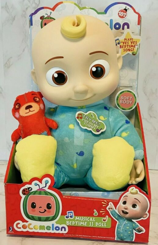 "Cocomelon JJ Doll Musical Bedtime 10"" Plush Sing Toy Roto Head NEW! IN HAND 🖐"