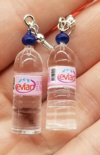 Evian water miniature bottles earrings  , funny gag gift , b