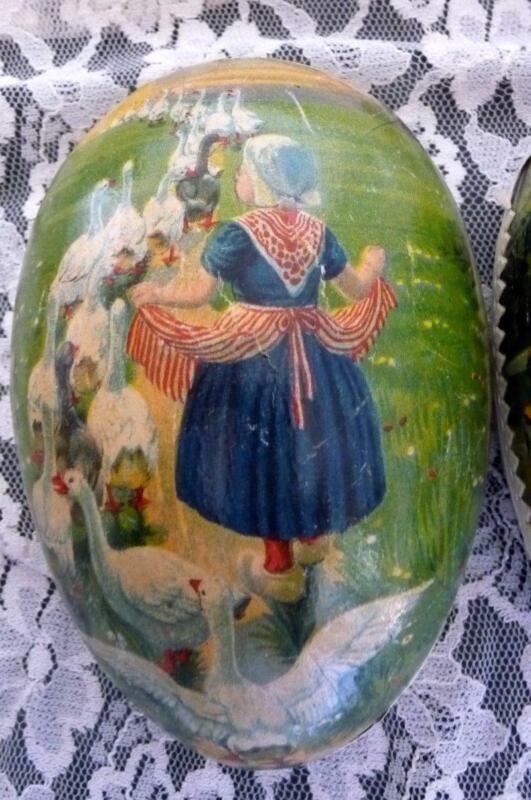 Antique Easter Egg Paper Mache Girl with Geese Germany Pre-WWII