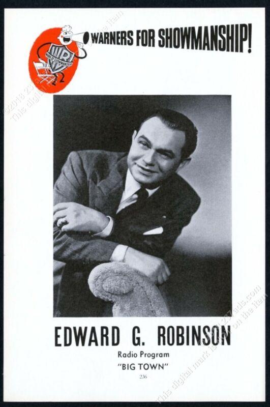 1940 Edward G Robinson great photo Warner Brothers vintage trade print ad