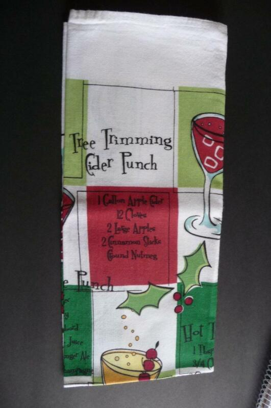 Christmas Holiday DRINK MIX RECIPE BAR party TOWEL - NEW