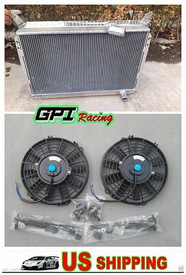 For Nissan 300ZX 1984 1989 All Aluminum 3 Rows Radiator  2X Fans