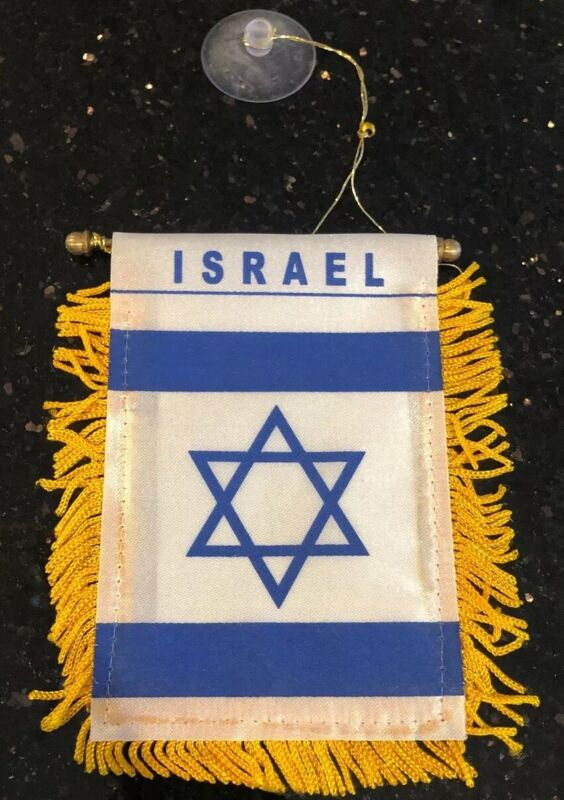 "Israel 🇮🇱 4 X 6"" MINI BANNER FLAG CAR WINDOW MIRROR HANGING W Suction New"