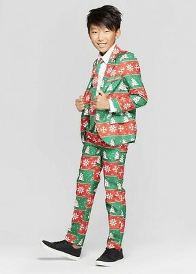 NEW Suitmeister Boys Ugly Christmas 3 Piece Suit Blazer, Pants, Tie Green/Red](Boys Christmas Suit)