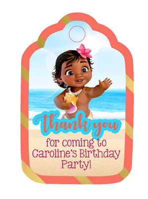 - Personalized Custom Birthday Party Favor Tags. Baby Moana! Your name; pink, gold