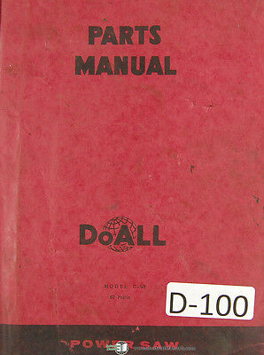 Doall C-58 Automatic Band Saw Parts Lists Manual