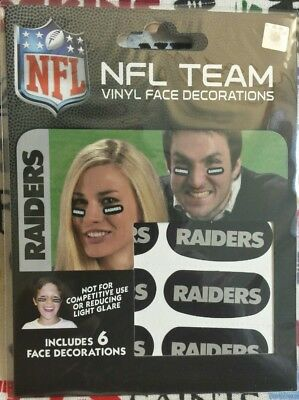 NFL Set of 6 Eye Black Strip Stickers Oakland Raiders (Face/Body Decorations)3pr