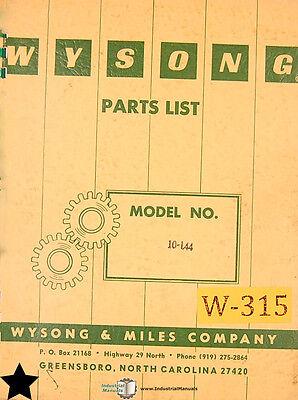 Wysong 10-144 Power Squaring Shear Parts Manual