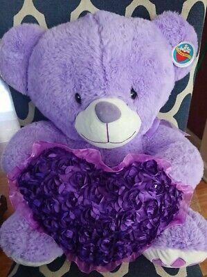 Purple Plush Teddy Bear with Heart - New! 19 inches (Teddy Bear With Heart)