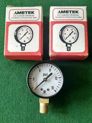 2x Ametek 2 Pressure Gauge 15 Psi 14 Npt New Quick Free Shipping