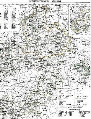 Echte 173 Jahre alte Landkarte HESSEN Kassel Fulda Marburg Hanau Hersfeld 1844