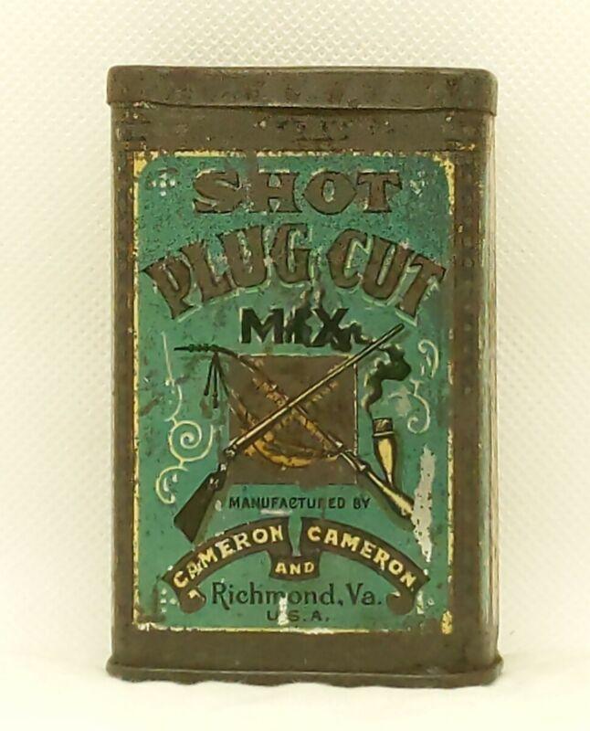Scarce *SHOT* Empty Antique Pocket Tobacco Tin w/Hunting Theme - Cameron  (39)