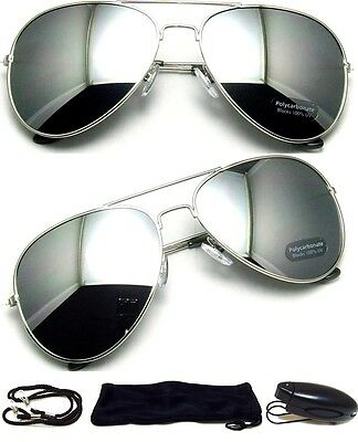 MEN Sunglasses Aviator Style Silver Frame with Dark Mirror Lens FREE CASE - (Aviator Sunglasses Silver Frame)