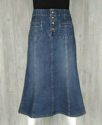 Vintage Gap Jeans Denim Skirt Size 6 Snap Front Panels Midi Modest Paneled Denim Skirt