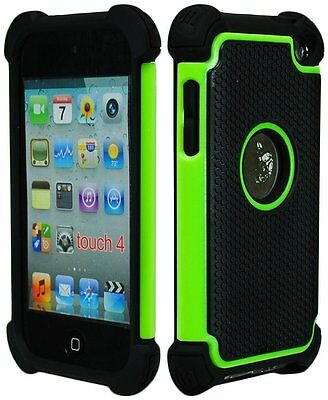 (For iPod Touch 4th Gen - HARD&SOFT RUBBER SKIN CASE COVER LIME GREEN BLACK ARMOR)