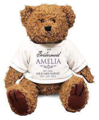 Personalised BRIDESMAID Big Teddy Bear Thank you Gift idea Wedding present