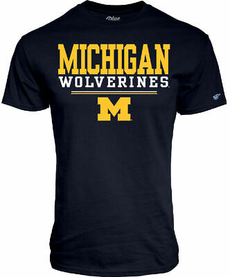 Michigan Wolverines Men's Blue Football Fan Short Sleeve T Shirt