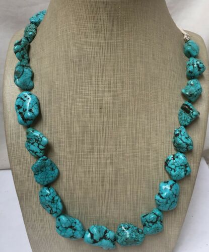 """Bold gradual  turquoise nugget necklace//18""""plus 10"""" rope length(w158a-w4.2)"""
