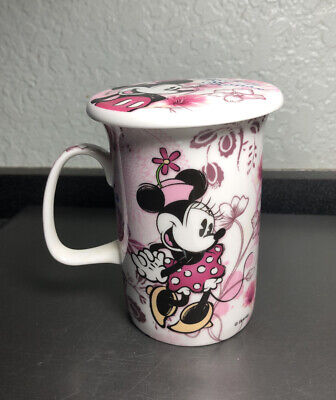 VTG DISNEY FINE BONE CHINA PINK FLORAL MINNIE & MICKEY MOUSE LIDDED COFFEE MUG