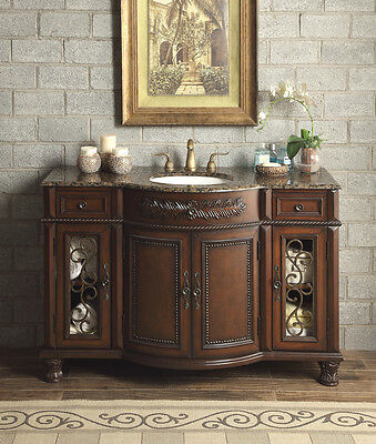"""New 52"""" Baltic Brown Granite Top Vanity Bathroom Lavatory Cabinet Single Sink for sale  Shipping to Canada"""